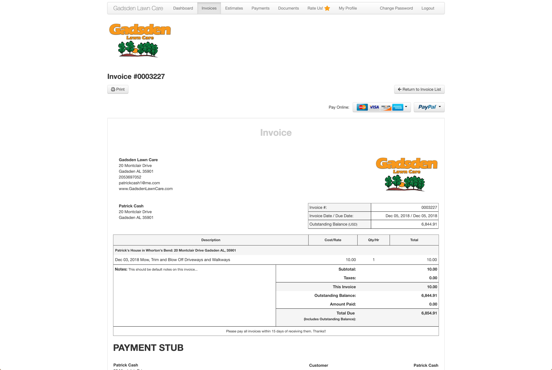 CLient portal for paying invoices and requesting work.