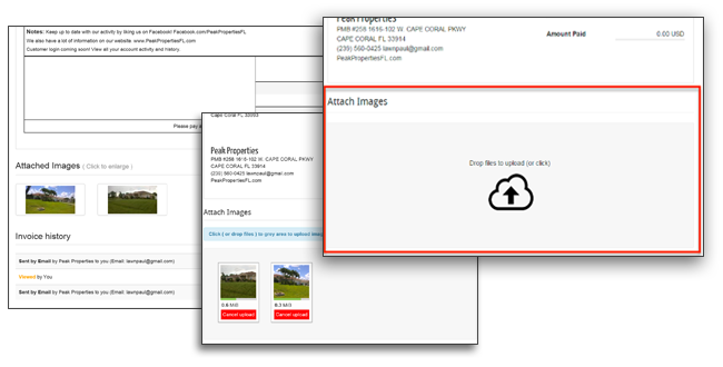 Attach images and files to lawn care business invoices and estimates.